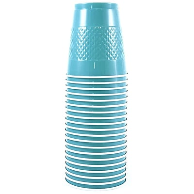 JAM Paper Plastic Cups, 12 oz, Sea Blue, 20/pack (2255520702) 1050886