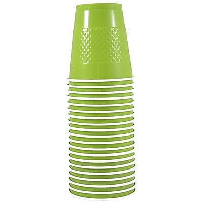 JAM Paper Plastic Cups, 12 oz, Lime Green, 20/pack (2255520704) 1050880