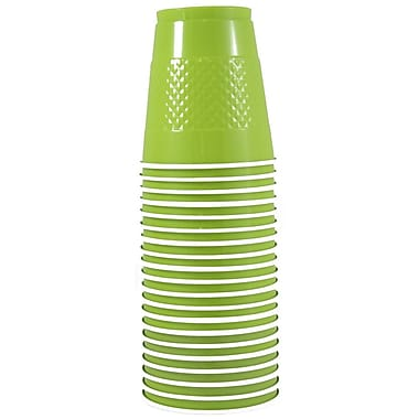 JAM Paper Plastic Cups, 12 oz, Lime Green, 200/Pack (2255520704b)