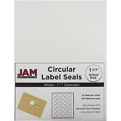 JAM Paper® Round Circle Label Sticker Seals, 1 2/3 inch diameter, White, 120/pack (3147612193)