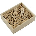 JAM Paper® Wood Clip Clothespins, Small 7/8 Inch, Natural Brown Clothes Pins, 50/Pack (3230717359)