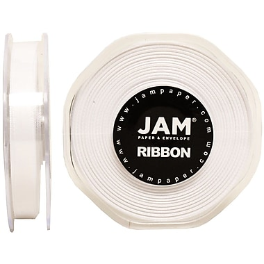JAM Paper® Double Faced Satin Ribbon, 3/8 Inch Wide x 25 Yards, White, Sold Individually (803SAWH25)