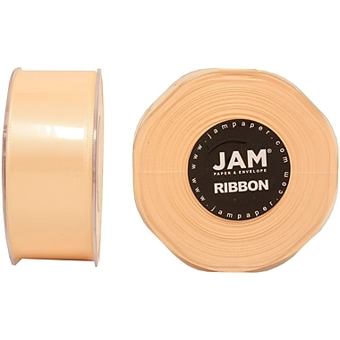 JAM Paper® Double Faced Satin Ribbon, 1.5 Inch Wide x 25 Yards, Ivory, Sold Individually (808SAIV25)