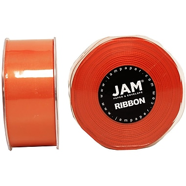 JAM Paper® Double Faced Satin Ribbon, 1.5 Inch Wide x 25 Yards, Orange, Sold Individually (808SAOR25)