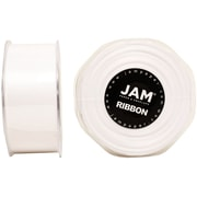 JAM Paper® Double Faced Satin Ribbon, 1.5 Inch Wide x 25 Yards, White Sold Individually (808SAWH25)