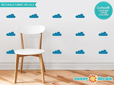 Sunny Decals Clouds Fabric Wall Decal (Set of 18); Black