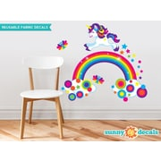 Sunny Decals Unicorn and Rainbow Fabric Wall Decal
