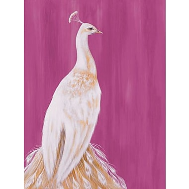 GreenBox Art 'White Peacock on Raspberry' by Karin Grow Painting Print on Canvas; 24'' H x 18'' W