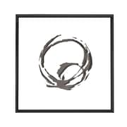 Square Black and White Abstract Circle Art w/ Mirror Shadow Box Semi Gloss Black Frame