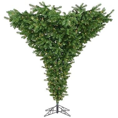 Vickerman Upside Down 9' Unlit Green Artificial Christmas Tree w/ Stand