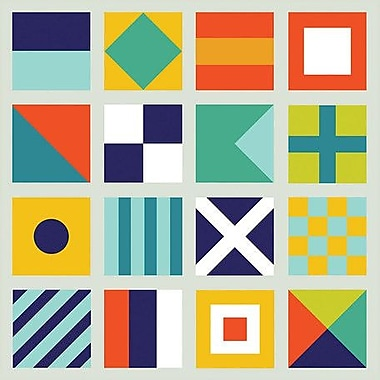Wheatpaste 'Sailing Flags' by Ampersand Design Studio Framed Graphic Art on Canvas; 14'' H x 14'' W
