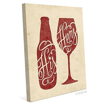 Click Wall Art His And Hers Graphic Art on Wrapped Canvas in Beige; 24'' H x 20'' W x 1.5'' D