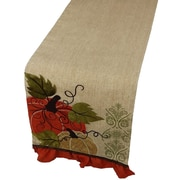 Xia Home Fashions Pumpkin Embroidered Polyester w/ Suede Accents Table Runner