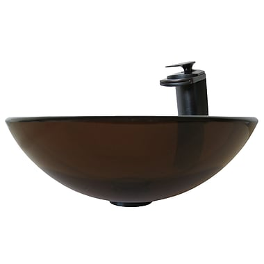 Novatto TY Glass Circular Vessel Bathroom Sink w/ Faucet