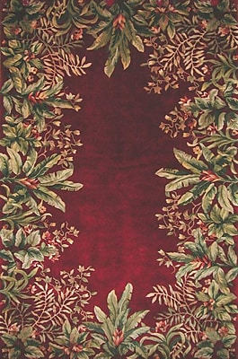 KAS Rugs Emerald Ruby Tropical Border Area Rug; Round 5'6''