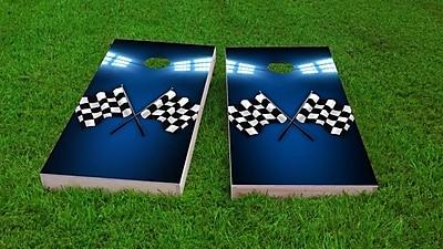 Custom Cornhole Boards Checkered Flag Cornhole Game Set; Whole Kernel Resin Corn
