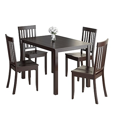 CorLiving DRG-595-Z3 Atwood 5-Piece Dining Set with Stained Chairs, Cappuccino
