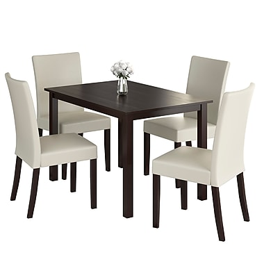 CorLiving DRG-595-Z5 Atwood 5-Piece Dining Set with Leatherette Seats, Cream