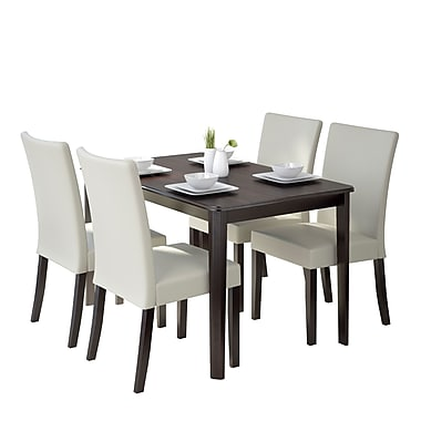 CorLiving DRG-695-Z3 Atwood 5-Piece Dining Set with Leatherette Seats, Cream