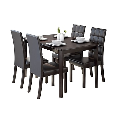 CorLiving DRG-695-Z4 Atwood 5-Piece Dining Set with Leatherette Seats, Dark Brown