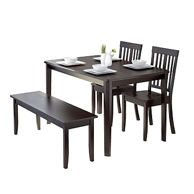 CorLiving DRG-695-Z6 Atwood 4-Piece Dining Set with Stained Bench and Set of Chairs, Cappuccino