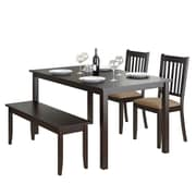 CorLiving DRG-795-Z2 Atwood 4-Piece Dining Set with Stained Bench and Set of Chairs, Cappuccino