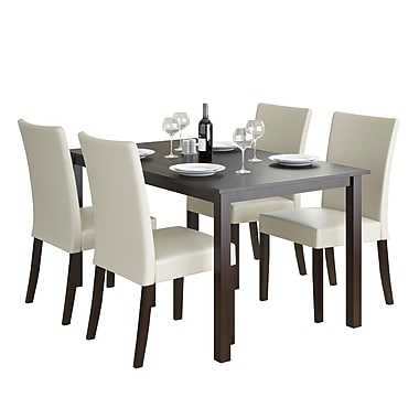 CorLiving DRG-795-Z3 Atwood 5-Piece Dining Set with Leatherette Seats, Cream