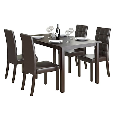 CorLiving DRG-795-Z4 Atwood 5-Piece Dining Set with Leatherette Seats, Dark Brown