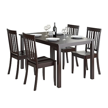 CorLiving DRG-795-Z5 Atwood 5-Piece Dining Set with Stained Chairs, Cappuccino