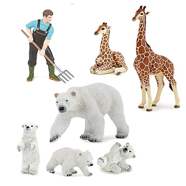 Papo – Ensemble de 7 figurines d'animaux du zoo peintes à la main