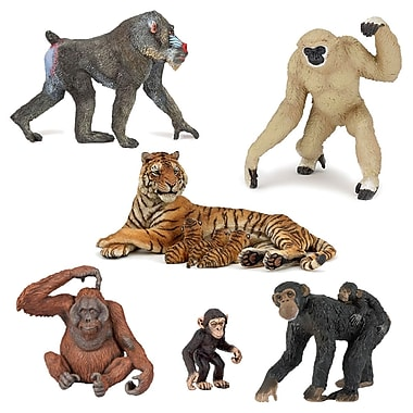 Papo – Ensemble de 6 figurines d'animaux du zoo, peintes à la main