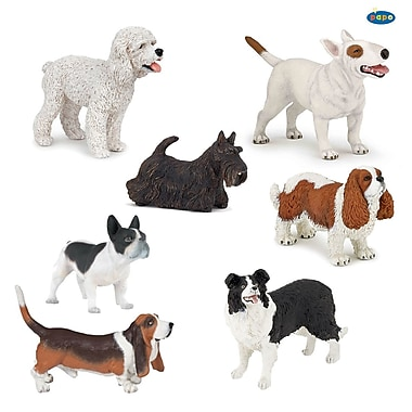 Papo Hand Painted Figurines, Dogs, Set of 7
