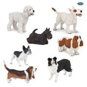 Figurines peintes à la main Papo, chiens, ensemble de 7