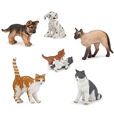 Papo – Ensemble de 6 figurines de chats et chiens peintes à la main