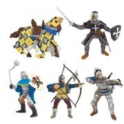 Papo – Ensemble de 5 figurines peintes à la main de chevaliers bleus