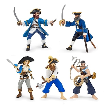 Papo – Ensemble de 5 figurines de pirates bleues peintes à la main
