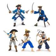 Papo – Ensemble de 5 figurines de pirates bleues peintes à la main