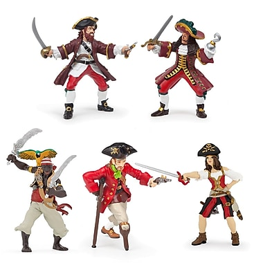 Papo – Ensemble de 5 figurines de pirates rouges peintes à la main