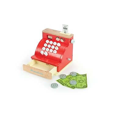 Le Toy Van Wooden Cash Register with Soft Touch Buttons and Play Money