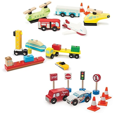 Le Toy Van 3 Sets of Transports: Harbour, Roadset and Airport