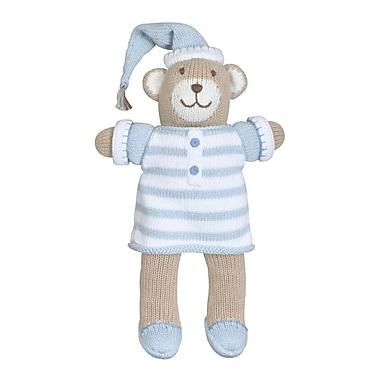 Zubels – Poupée BEAR12-BL Ours en pyjama bleu tricotée à la main 12 po
