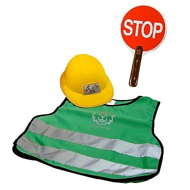 LionTouch – Casque de bricoleur, signe « Stop and Go » et veste de sécurité verte en polyester