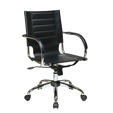 Office Star Trinidad Office Chair with Fixed Padded Arms, Black