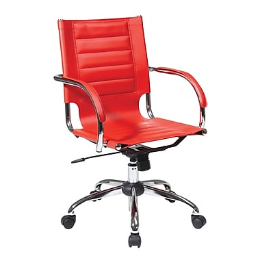 Office Star Trinidad Office Chair with Fixed Padded Arms, Red
