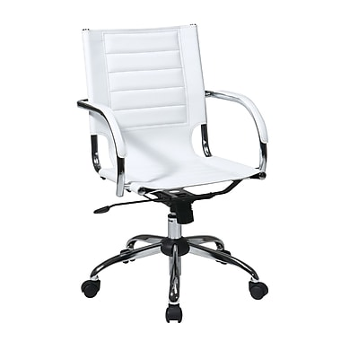 Office Star Trinidad Office Chair with Fixed Padded Arms, White