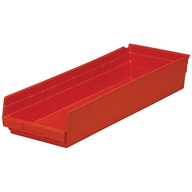 Akro-Mils Shelf Bin,23-5/8 x 8-3/8 x 4, Red