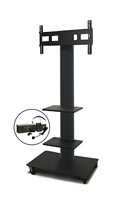 Marvel® Vizion® MVPFS6080DT2E TV/Monitor Stand and Mount with Two Equipment Shelves and AmpliVox Headset Microphone