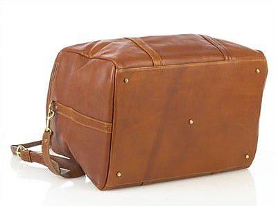 Aston Leather 16'' Leather Travel Duffel; Tan