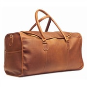 Aston Leather 22'' Leather Half-Moon Zipper Travel Duffel; Brown