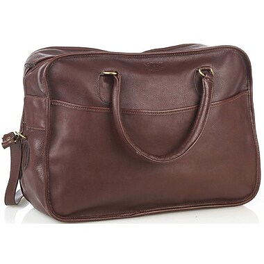 Aston Leather 18'' Leather Overnight Travel Duffel; Black